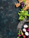 Healthy food cooking background over grunge dark blue plywood texture Royalty Free Stock Photo