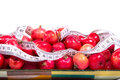 Healthy food delicious apples with measuring tape on a white background Royalty Free Stock Photos