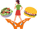 Healthy food or fast food young woman standing at the fork in the road choosing between a salad and a hamburger illustration Stock Images