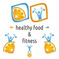 Healthy food fitness symbols orange exercising figure Royalty Free Stock Photo