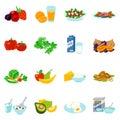 Healthy Food Flat Icons Set