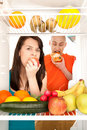 Healthy food in fridge Royalty Free Stock Images