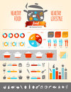 Healthy food infographics about and lifestyle with various icons and charts Royalty Free Stock Image