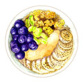 Healthy food. Nuts, bananas, berries