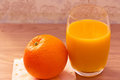 Healthy food: orange and juice for breakfast Royalty Free Stock Images