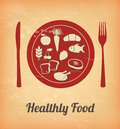 Healthy food over white background vector illustration Royalty Free Stock Photos