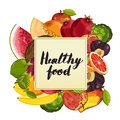 Healthy food poster with fruit
