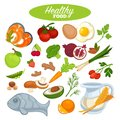Healthy food poster or natural organic vegetables, fruits or fish products