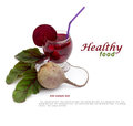 Healthy food raw beetroot and beetroot juice Stock Photos
