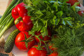 Healthy food- red paprika, tomatoes, cucumber, parsley, dill Royalty Free Stock Photo