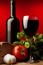 Healthy food and red wine Stock Image