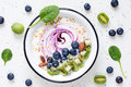 Healthy food Smoothie bowl with fruits, super food breakfast Royalty Free Stock Photo