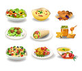 Healthy food vector illustration of tasty like salads honey and nuts Stock Image