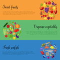 Healthy food with vegetables and fruits banners. Vector illustration Royalty Free Stock Photo