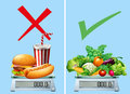 Healthy food versus junkfood illustration Royalty Free Stock Photo