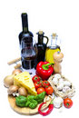 Healthy food and wine Stock Image