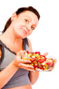 Healthy food young woman with Stock Image