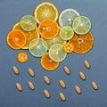 Healthy foods and medicine concept. Pills of vitamin C