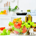 Healthy foods table kitchen Stock Photography