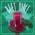 Healthy fresh beet juice with root vegetables