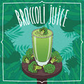 Healthy fresh broccoli juice with vegetables