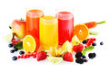 Healthy fresh drinks from fruit and vegetables colourful glasses of liquidised with an array of colourful around the Royalty Free Stock Photos