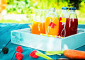 Healthy fresh fruit and vegetable juice blends with citrus berries carrots standing ready to drink in glass bottles on a Royalty Free Stock Photography