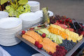 Healthy fresh fruits food buffet muffins and bagels make up this tabletop fruit Royalty Free Stock Photos