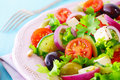 Healthy fresh salad with feta cheese crispy lettuce cherry tomato onion rings cucumber and olives on a white plate Royalty Free Stock Photo