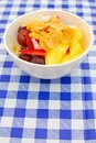 Healthy fruit salad topped with cereal Royalty Free Stock Photo