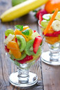 Healthy fruit salad two glasses of Stock Photography