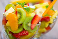 Healthy fruit salad two glasses of Royalty Free Stock Photography