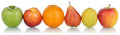 Healthy fruits like oranges lemons and apples in a row isolated pears on white background Royalty Free Stock Image