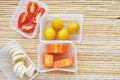 Healthy fruits tropical for breakfast such as banana orange papaya and tomato Stock Photography