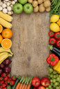 Healthy fruits and vegetables with copyspace Royalty Free Stock Photo
