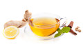 Healthy ginger tea with lemon and spices Stock Photos