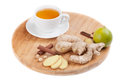 Healthy ginger tea with lime and spices Stock Image