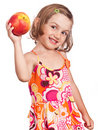 Healthy girl with big apple Royalty Free Stock Photo