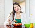 Healthy girl eating vegetarian lunch Royalty Free Stock Photo