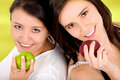 Healthy girls on a diet Stock Images