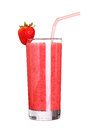 Healthy glass of smoothies strawberry flavor on white isolated background Royalty Free Stock Images