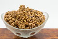 Healthy granola muesli cereals with chocolate in bowl Royalty Free Stock Photo