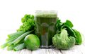 Healthy green juice vegetable on wooden table Stock Photography
