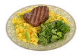 Healthy Grilled Fillet Steak with Pasta and Green Salad Meal Royalty Free Stock Photo