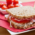 Healthy ham, cheese and tomato sandwich Royalty Free Stock Image