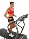 Healthy Happy Young Female Workout on Treadmill Stock Image