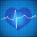 Healthy heart cardiogram on blue background white Stock Image