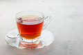 Healthy herbal rooibos red tea in glass cup, copy space Royalty Free Stock Photo