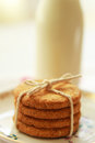 Healthy home made oatmeal biscuits and a bottle of fresh milk close up Royalty Free Stock Photo