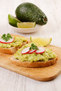 Healthy homemade appetizer two sandwiches with avocado and radish Royalty Free Stock Images